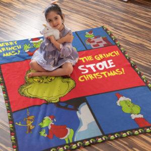 Merry Grinchmas How the Grinch Stole Christmas Fleece Blanket, Sherpa Blanket