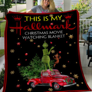 This Is My Hallmark Christmas Movies Watching Blanket Grinch and Dog Fleece Blanket, Sherpa Blanket