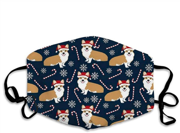 Merry Christmas With Lovely Corgi Santa Face Mask