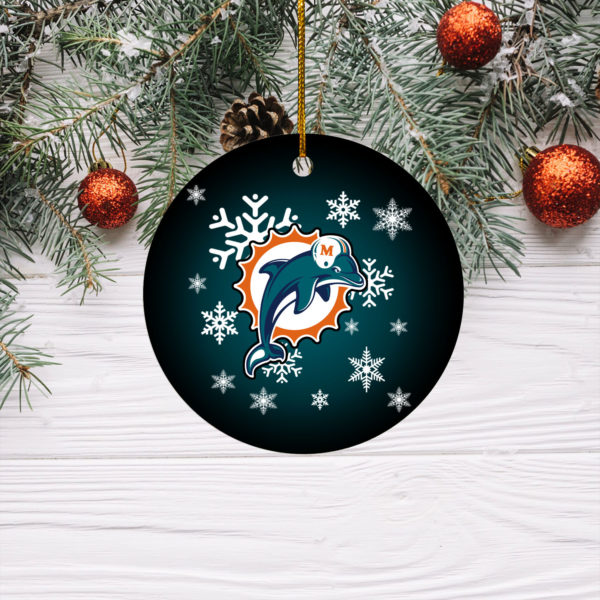 Miami Dolphins Merry Christmas Circle Ornament