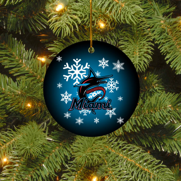 Miami Marlins Merry Christmas Circle Ornament