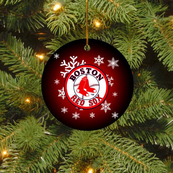 Boston Red Sox Merry Christmas Circle Ornament