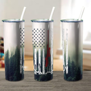 Buck Deer Us Flag Hunting Skinny Tumbler
