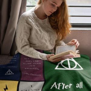 Harry Potter Quotes Fleece Blanket, Sherpa Blanket