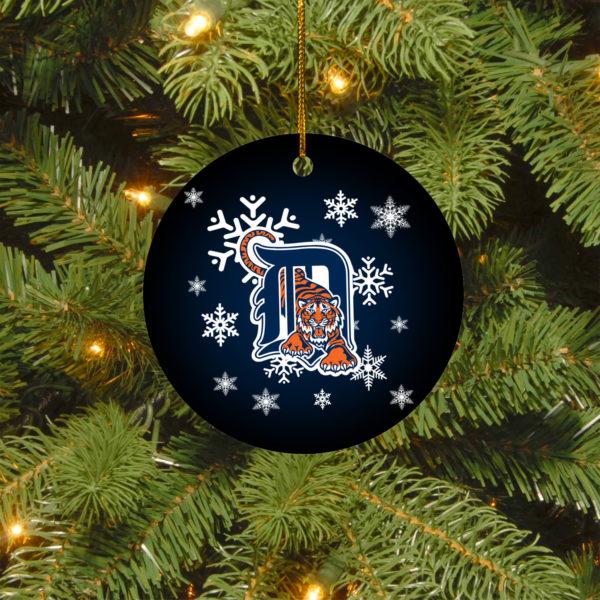 Detroit Tigers Merry Christmas Circle Ornament