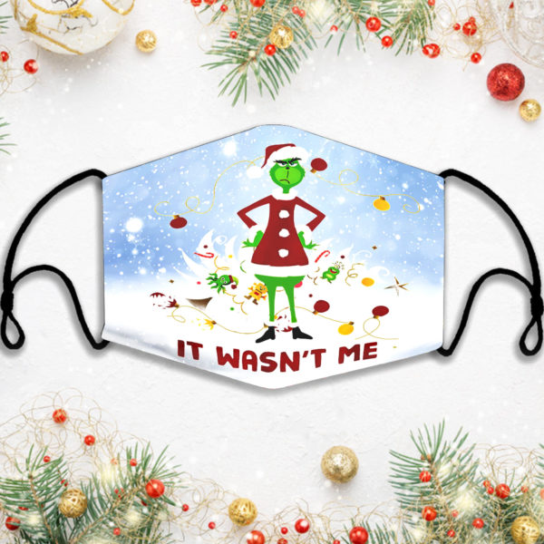 It Wasnt Me Grinch Xmas Face Mask