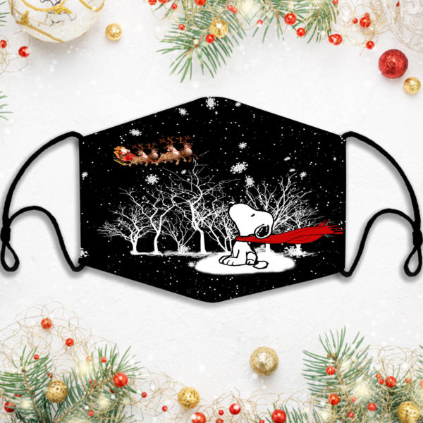 Snoopy Christmas Santa Face Mask