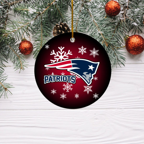 New England Patriots Merry Christmas Circle Ornament