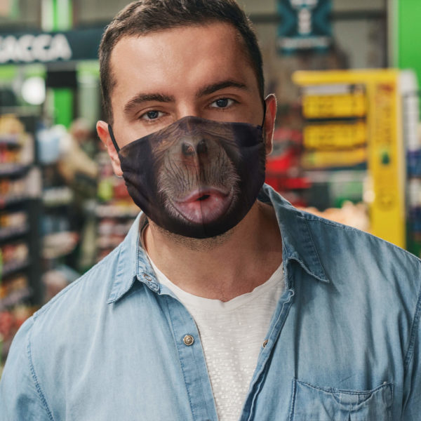 Chimp Mouth Happy Chimpanzee Face Mask