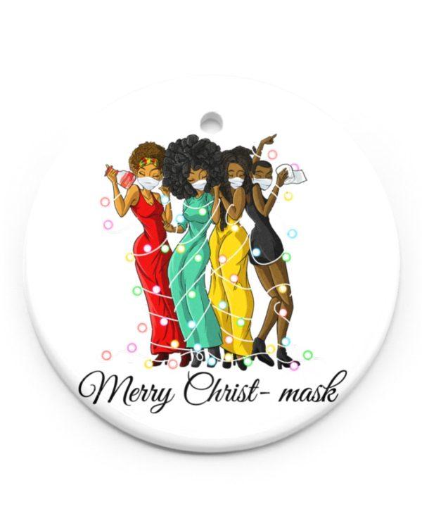 Black Women Merry Christ-mask Ornament