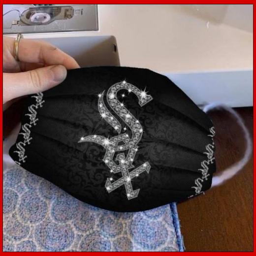 Chicago White Sox glitter diamond cloth face mask reusable
