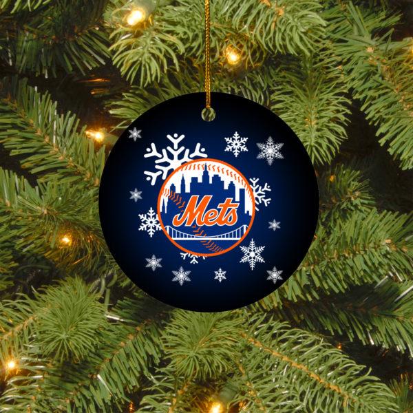 New York Mets Merry Christmas Circle Ornament