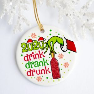 2020 Drink Drank Drunk Green Hand Holding Wine Christmas Ornament
