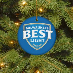 Milwaukee_s Best Light Merry Christmas Circle Ornament