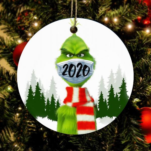 Grinch Mask Christmas 2020 Quarantine Time Ornament