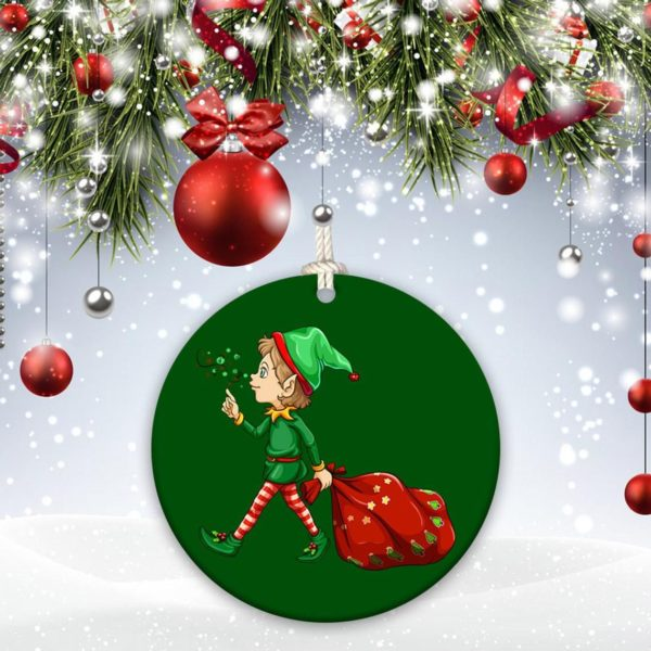The Elf We wish you a Merry Christmas Christmas Decorative Ornament