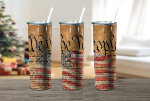 We The People Distress Scorched Skinny Tumbler