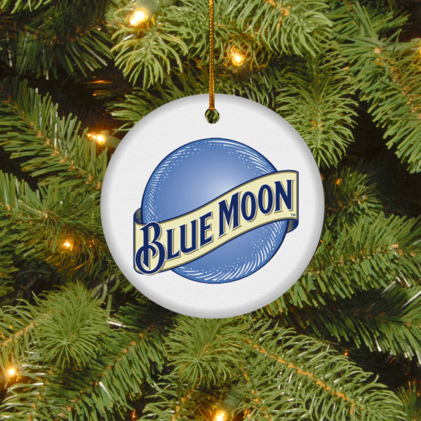 Blue Moon Merry Christmas Circle Ornament