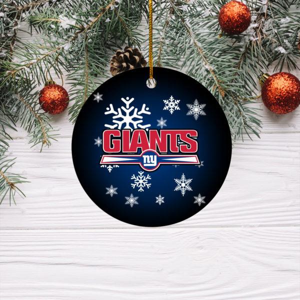 New York Giants Merry Christmas Circle Ornament