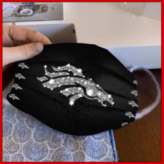 Denver Broncos glitter diamond cloth face mask reusable
