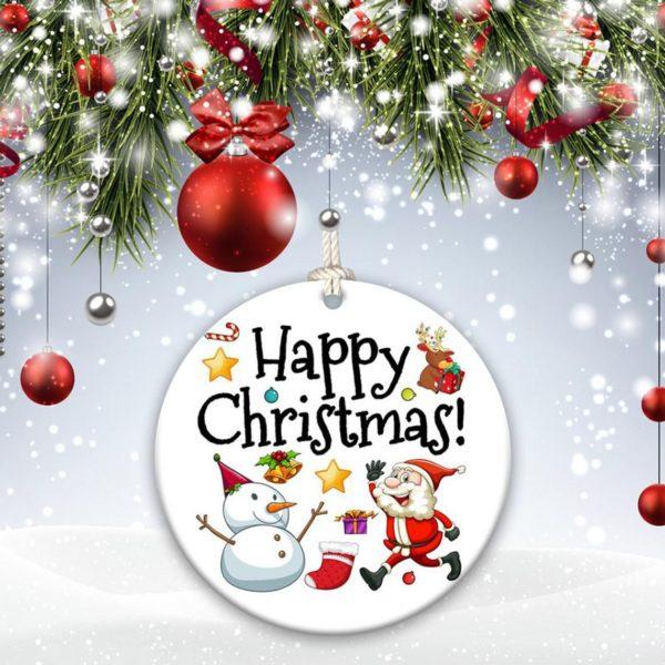 Santa Reindeer We wish you a Merry Christmas Decorative Ornament