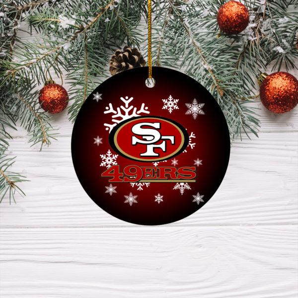 San Francisco 49ers Merry Christmas Circle Ornament
