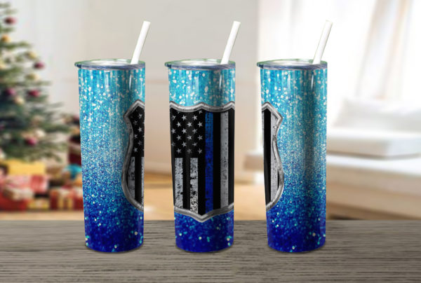 Blue Glitter Police Flag Thin Blue Skinny Tumbler