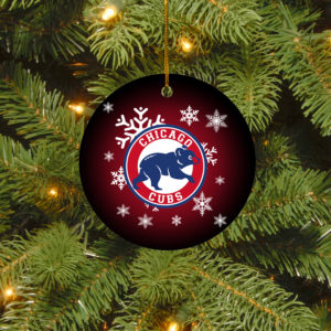 Chicago Cubs Merry Christmas Circle Ornament