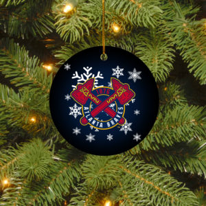 Atlanta Braves Merry Christmas Circle Ornament