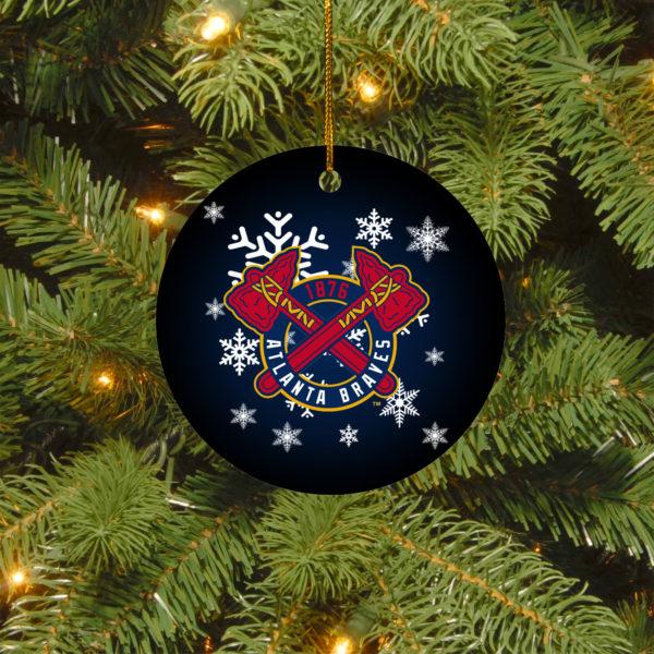 Atlanta Braves Merry Christmas Circle Ornament