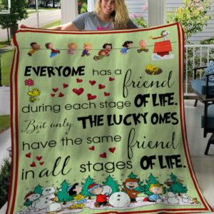 Charlie Brown Snoppy Friend Quotes Fleece Blanket, Sherpa Blanket