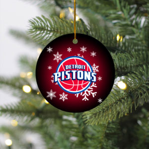 Detroit Pistons Merry Christmas Circle Ornament