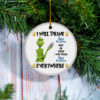 Grinch I Will Drink Pabst Blue Ribbon Here And There Everywhere Christmas Ornament