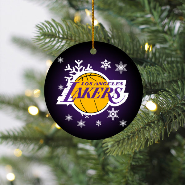 Los Angeles Lakers Merry Christmas Circle Ornament
