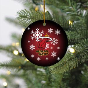 Miami Heat Merry Christmas Circle Ornament