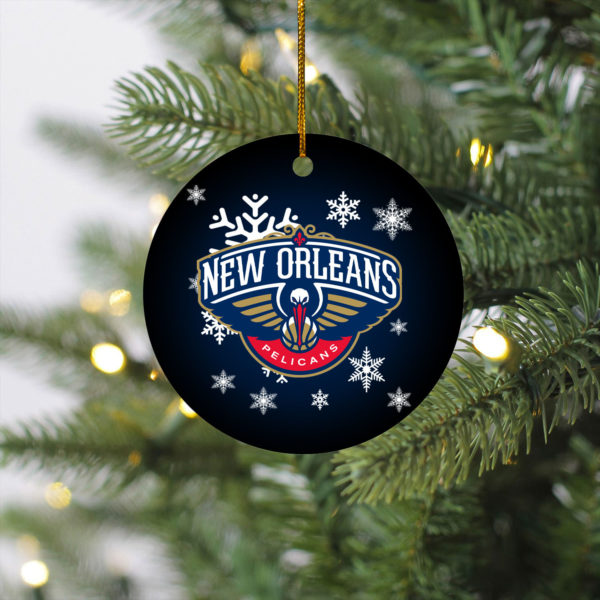 New Orleans Pelicans Merry Christmas Circle Ornament