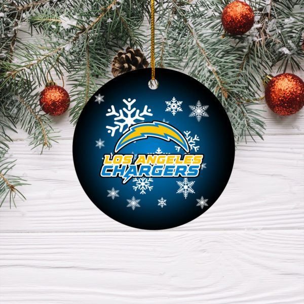Los Angeles Chargers Merry Christmas Circle Ornament