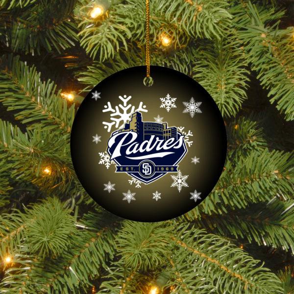San Diego Padres Merry Christmas Circle Ornament