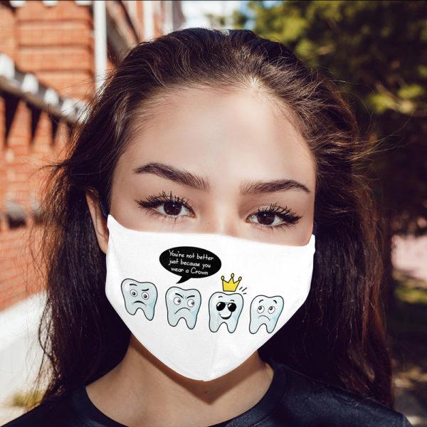 Funny Dentist Gift Dental Crown Face Mask