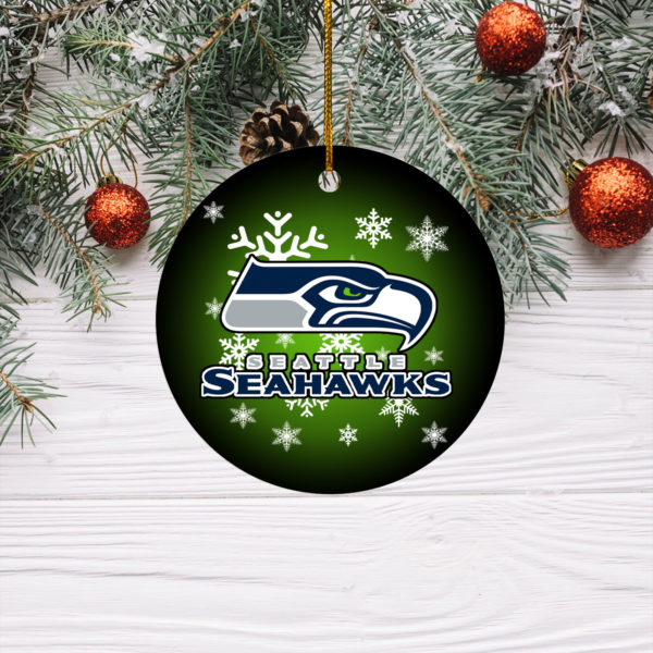 Seattle Seahawks Merry Christmas Circle Ornament