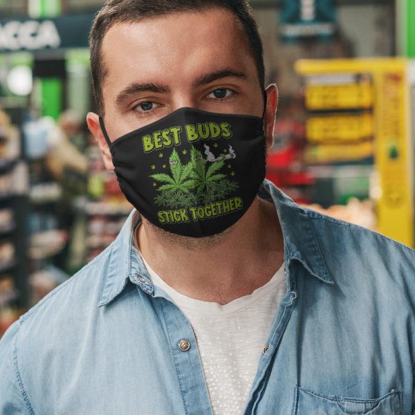 Best Buds Stick Together Trippy Pot Leaf Face Mask