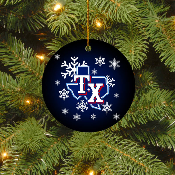 Texas Rangers Merry Christmas Circle Ornament