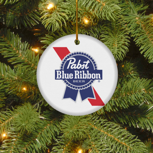 Pabst Blue Ribbon Merry Christmas Circle Ornament