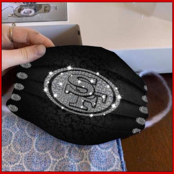 San Francisco 49ers glitter diamond cloth face mask reusable