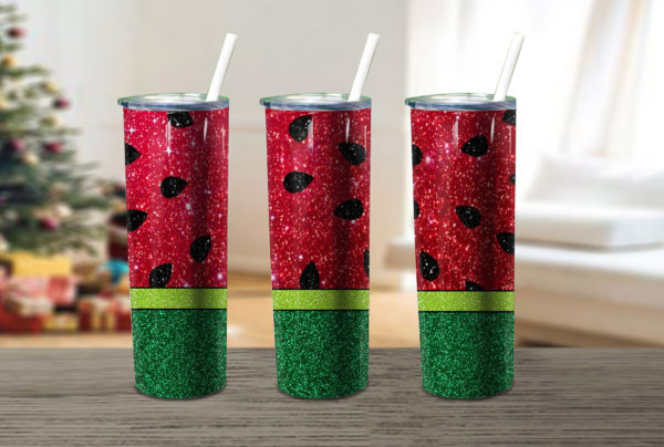 Watermelon Glitter Tumbler Christmas Skinny Tumbler