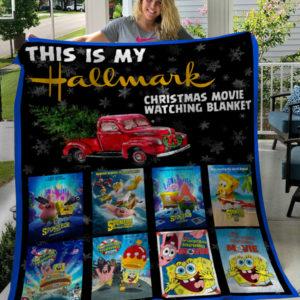 This Is My Hallmark Christmas Movies Watching Blanket Sponge Bob Square Pants Fleece Blanket, Sherpa Blanket