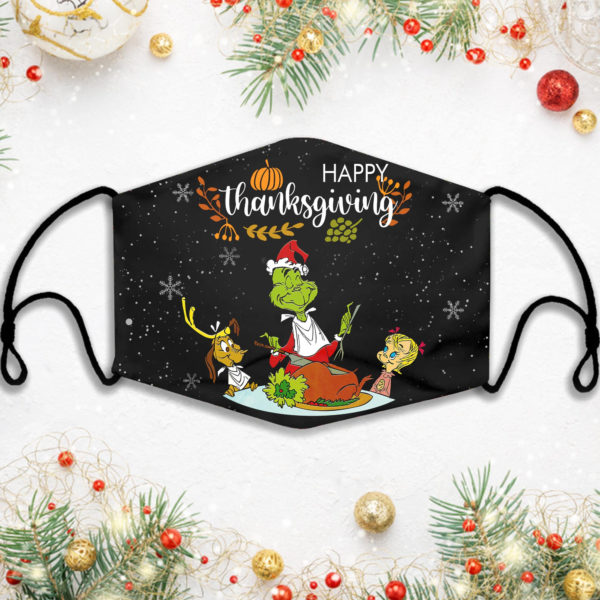 Happy Thanksgiving Grinch Xmas Face Mask