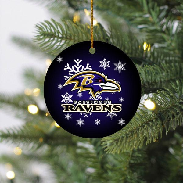 Baltimore Ravens Merry Christmas Circle Ornament