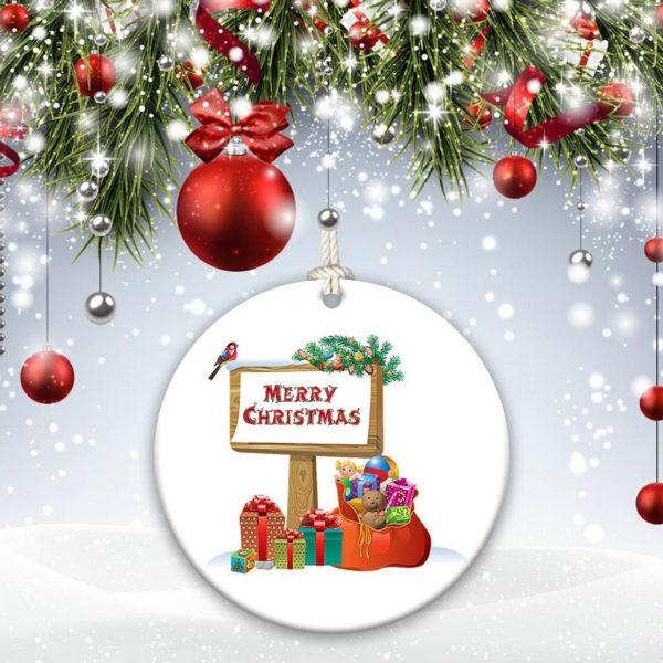 Santa, Reindeer Jingle Bells We wish you a Merry Christmas Christmas Decorative Ornament