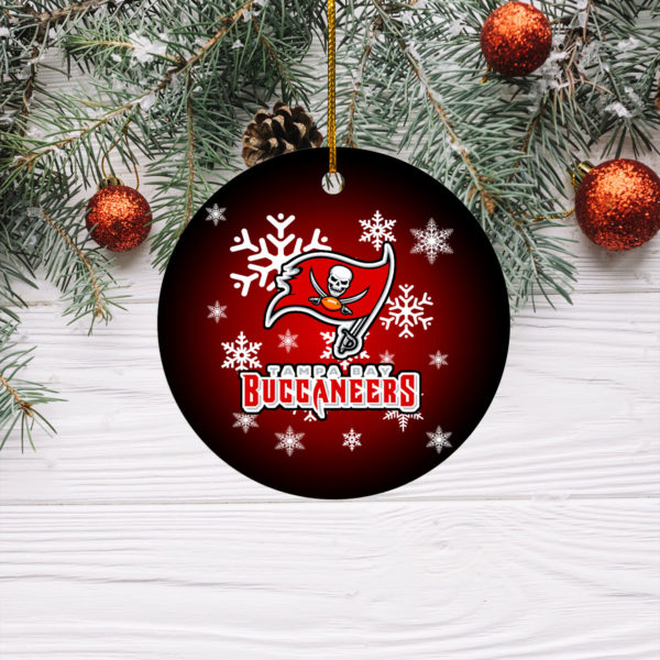 Tampa Bay Buccaneers Merry Christmas Circle Ornament